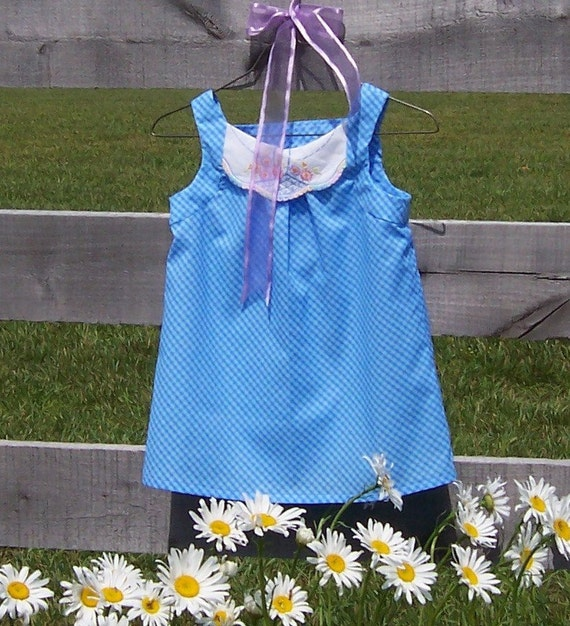 Pinafore Top Girls July 4th Blowout SALE - Size 6/7 Blue Gingham Vintage Linen Summer Fashion, Flower Basket Embroidery