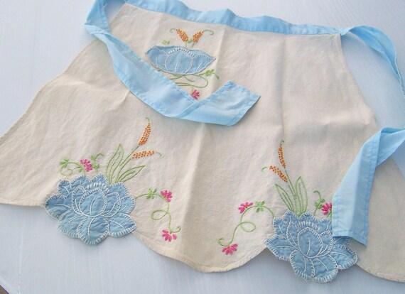 Vintage Apron - 1950's collectible, farmhouse feed sack, applique and embroidery, half apron blue trim