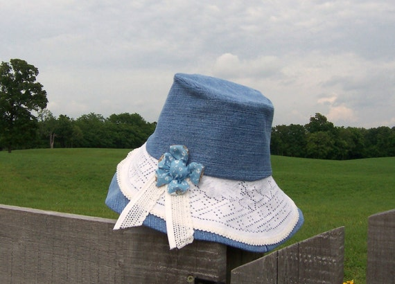 Sun Hat Women's Garden Hat Wide Brim Upcycled Denim Yard Work Gingham Lined Vintage Lace