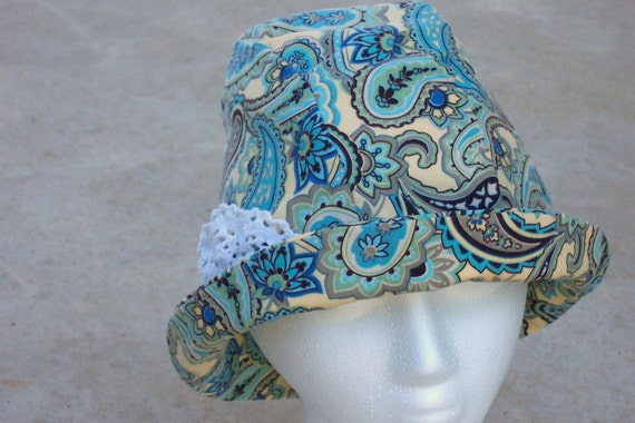 Cloche Hat ON SALE Women Chemo Cotton Fabric Paisley Teal, Yellow, Black Lace Accent Downton Abbey Style