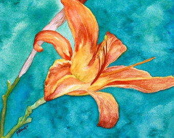 Spring Day Lily Watercolor Print