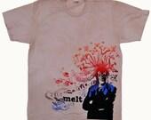 Melt Screen Print T-shirt with Fish Design on American Apparel Tee