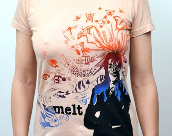 Screenprint Melt Tshirt Phish on American Apparel Tee Women