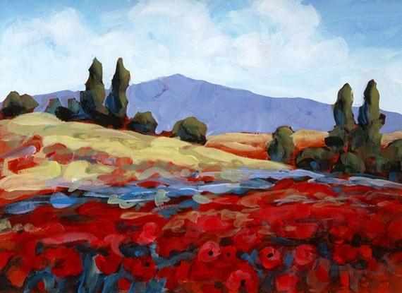 Red Flowers by Creek Original Painting ON SALE