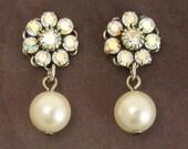 Crystal Pearl Earrings Swarovski Flower Post Bridal Wedding Bridesmaid Jewelry
