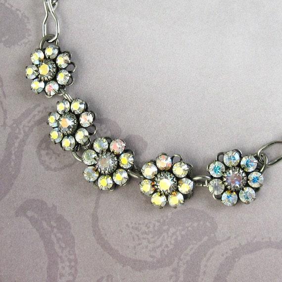 Crystal Flower Bracelet Iridescent Aurora Borealis Crystal Swarovski