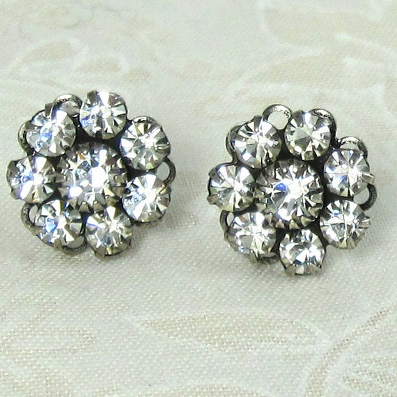 Rhinestone Flower Earrings Clear Crystal Bridal post Bridal Wedding Bridesmaid Jewelry