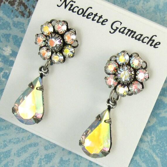 Bridal Rhinestone Earrings Iridescent Crystal CAB and Swarovski Crystal Post and Drop Earrings Bridal Wedding Bridesmaid Jewelry