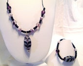Art Glass Pendant Purple and White Necklace and Bracelet Set013