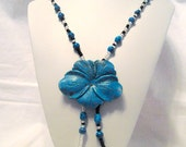 Stone Necklace Blue Composite stone Flower Blue and black Kanji Beads. N064