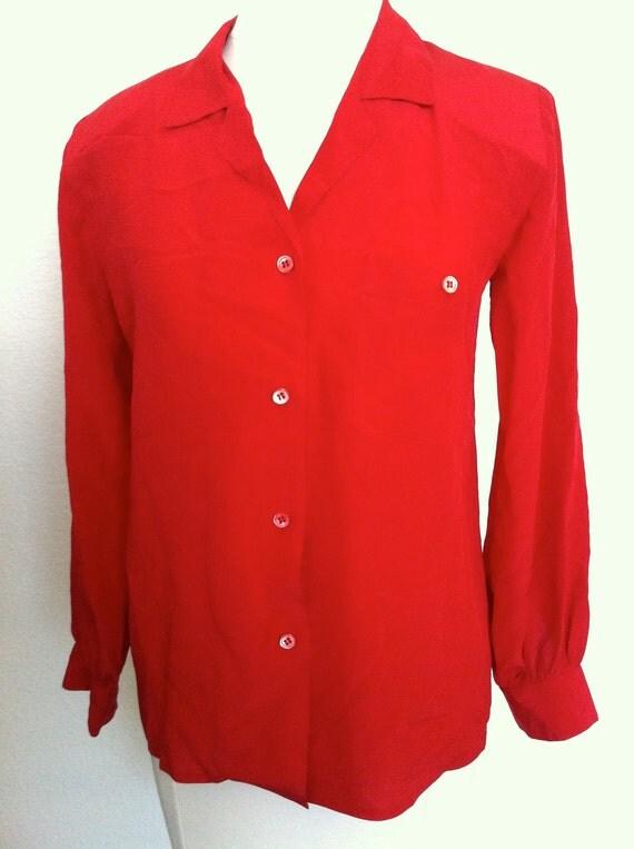 Red long sleeve silk blouse