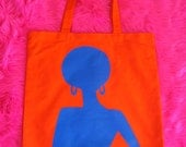 Supaflarez DISCOCHICK design 100% cotton canvas tote bag—Orange