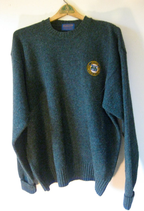 Men's Pendleton Heathered Green Wool Sweater XL - Oregon Department of Forestry Crest - Like New Condition