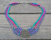 Vintage Aqua, Magenta and Purple Beaded Strand Statement Necklace