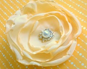 "Custom Listing for Sarah Ruble-  (5) 3"" Fabric Flower Clip, Yellow Satin, Pearl Bead Center"