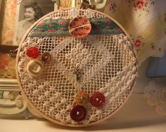 Vintage Lace Hoop Wall Decor