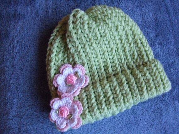 Pretty Light Green Crochet Hat with Pink and White Flowers