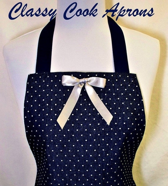 Apron Indigo DENIM & SILVER Dots, Sexy Ruffled Flounce, Pretty Party Hostess, Unique Kitchen Gift