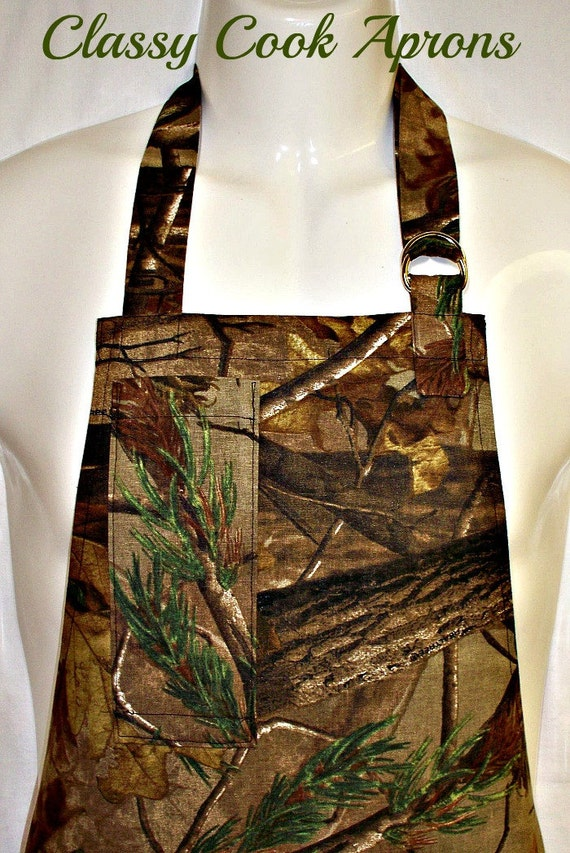 Apron Mans, Woodland Camoflage in Brown & Black, Fun BBQ Grill Picnic Camping Unique Kitchen Gift