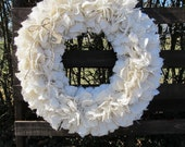 Large White Burlap Wreath