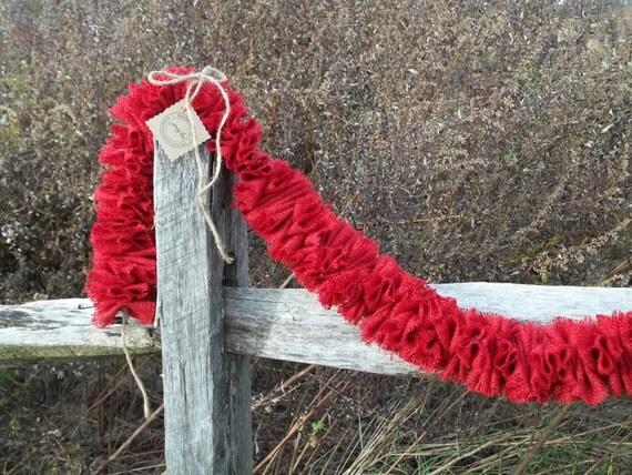Red Burlap Christmas Garland
