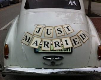 Just Married Car Sign, Car Sign, Car Banner, Bridal Car sign