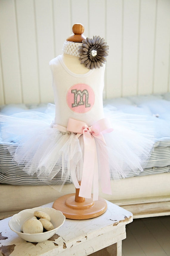 Silver Tutu And Coordinating Applique Tank with Initial
