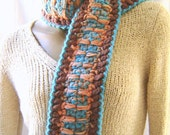 CIJ 25% off - Woven Stitch Scarf Brown, peach and turquoise - Crochet One of a Kind / Hand crochet scarf christmasinjuly christmas in july