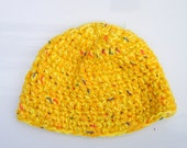 Yellow Autumn hat -crochet multi strands / fall fashion Chunky style back to school