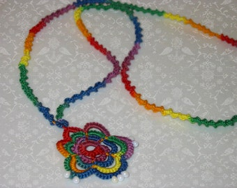 Rainbow Roses Tatted Necklace with White Fringe Beads - 100 percent cotton