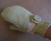 Green Rose Knitted Mittens