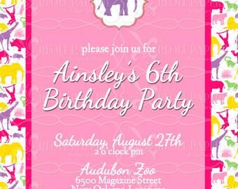 Elegant Girls Zoo birthday party invitation