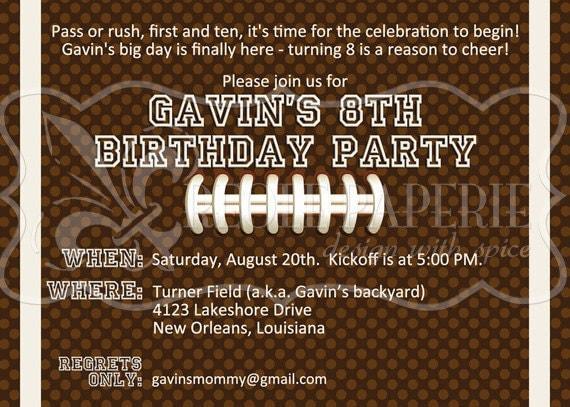 birthday party invitation – Football Party Invite
