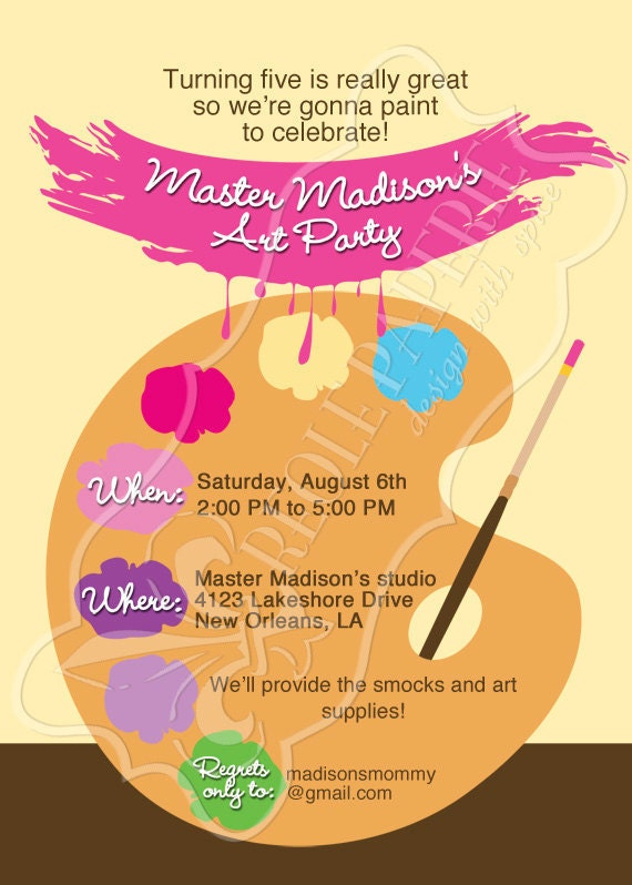 Art/Paint party birthday party invitation Paint by ...