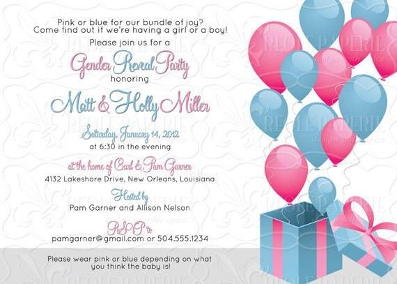 Gender RevealAnnouncement Balloon baby shower invitation
