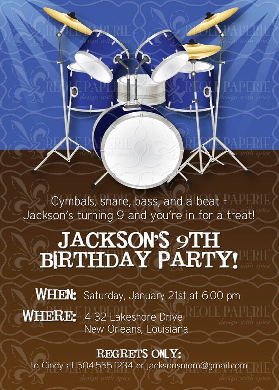 Drummer boy/Drum themed party Birthday Invitation by ...
