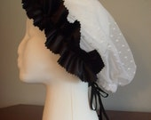 Historical Lace and satin Snood---Civil War, Renaissance, Victorian---White and Black
