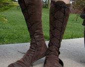Tall Soft Leather Renaissance Boots--- New Optional Thick Sole-- Lace Up, w/Pointed Toe---Unisex---Made To Order