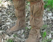 Authentic Suede Moccasin Boots--- Suede boots, Woodsmen, Elvish, Renaissance, Viking, Norse, Knee High, Unisex---Made To Order
