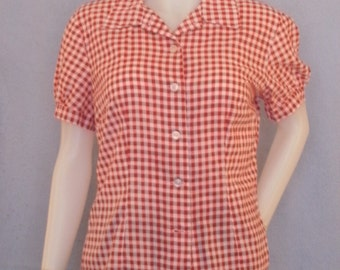 Cute Modest Button Blouse--- Summer Blouse, Custom Shirt, Plaid, Flannel-- Country, Farm, Cotton
