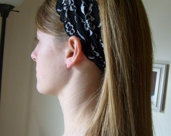 Stretch Lace Headband/Head Covering---Black w/Silver Detail