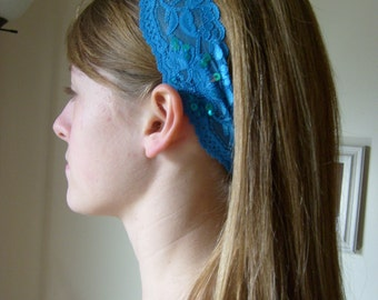Stretch Lace Headband/Head Covering----Turquoise Blue w/Beaded Detail