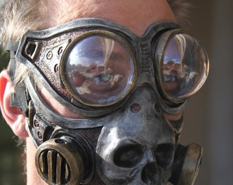 Steampunk Diesel Punk Froggle Goggle and Skull gas mask combo set cosplay fetish Larp ON Sale Now 25% off!!