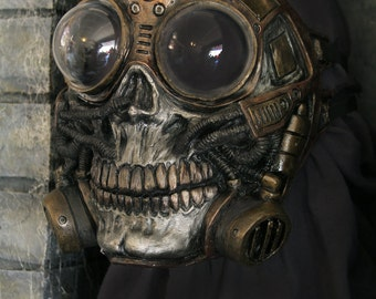 Steampunk Diesel punk cosplay fetish Larp Full Face Skull Gas mask with froggle ON SALE NOW!!! 25% off!!