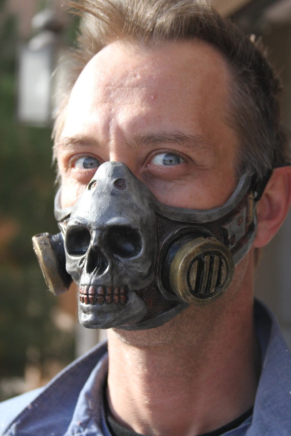 Steampunk Froggle Skull gas mask attachment cosplay latex