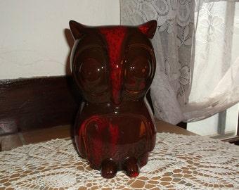Canadiana Pottery Brown & Orange Drip Glaze Large Owl Figurine Canada