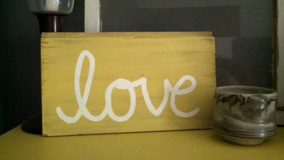 Yellow LOVE Wooden Sign