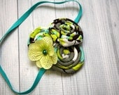 Lime, aqua, gray, and white rosettes and hydrangea headband, hair clip, infant, toddler, girl, adult, photo prop