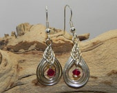 Earrings - Celtic Knot Silver Plated Wire-Worked with Siam Swarovski Crystal Bead