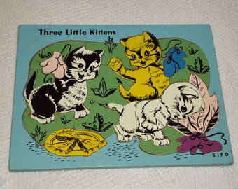 SIFO Vintage 1950s Three Little Kittens Puzzle